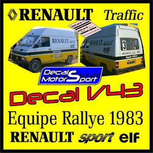 【送料無料】模型車 モデルカー スポーツカーデカールルノートラフィックチームラリージャンdecal 143 renault traffic team rally jean ragnotti 1983