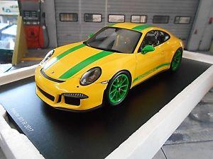 【送料無料】模型車 モデルカー スポーツカーポルシェカレラスパークporsche 911 991 ii carrera r 2016 yellow green yellow spark resin 118