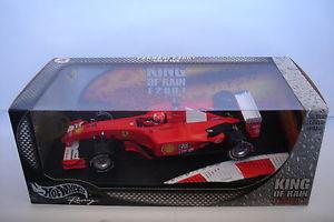 【送料無料】模型車 モデルカー スポーツカーホットホイールフェラーリキングミハエルシューマッハーマットhot wheels 118 ferrari f2001 king of the rain michael schumacher mat56133