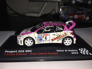 【送料無料】模型車 モデルカー スポーツカープジョーラリーダマデイラフランソワフランソワデルクールpeugeot 206 wrc 2003 44 rallye da madeira franois delecour rare