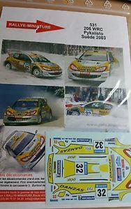 【送料無料】模型車 モデルカー スポーツカーデカールプジョーラリースエードスウェーデンラリーdecals 132 ref 531 peugeot 206 wrc pykalisto rally suede 2003 swedish rally