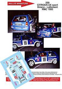 【送料無料】模型車 モデルカー スポーツカーデカールシトロエンスポーツモンテカルロラリーラリーdecals 132 ref 558 citroen ax sport driano rallye monte carlo 1993 rally wrc