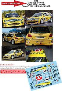 【送料無料】模型車 モデルカー スポーツカーデカールプジョーツアーラリーラリーdecals 132 ref 504 peugeot 206 s1600 2002 tour reunion ardouin rally rally