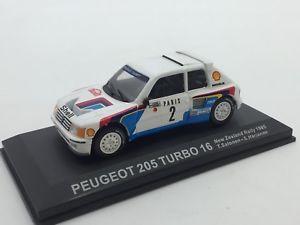 【送料無料】模型車 モデルカー スポーツカープジョーターボニュージーランドラリーカーpeugeot 205 turbo 16 salonenharjanne zealand 1985 143 rally cars