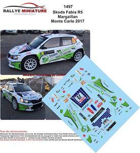 【送料無料】模型車 モデルカー スポーツカーデカールシュコダファビアモンテカルロラリーラリーdecals 132 ref 1497 skoda fabia r5 margaillan rallye monte carlo 2017 rally wrc