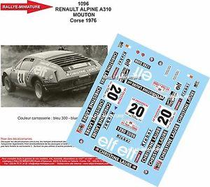 【送料無料】模型車 モデルカー スポーツカーデカールアルパインルノーツールドコルスラリーラリーdecals 132 ref 1096 alpine renault a310 sheep tour de corse 1976 rally rally