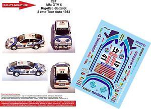 【送料無料】模型車 モデルカー スポーツカーデカールアルファロメオラリーツアーラリーフランスdecals 132 ref 297 alfa romeo gtv 6 rigollet rally tour auto rally france 1983