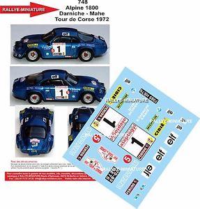 【送料無料】模型車 モデルカー スポーツカーデカールアルパインルノーラリーツールドコルスラリーdecals 132 ref 748 alpine renault a110 darniche rally tour de corse 1972 rally