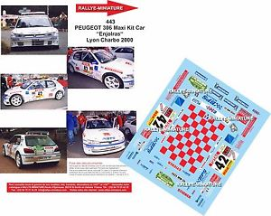 【送料無料】模型車 モデルカー スポーツカーデカールプジョーマキシラリーリヨンdecals 132 ref 443 peugeot 306 maxi rally lyon charbonnieres enjolras 2000