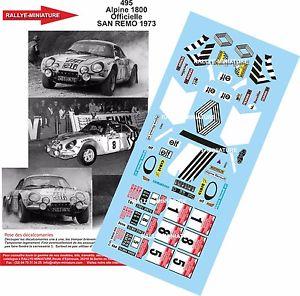 【送料無料】模型車 モデルカー スポーツカーデカールアルパインルノーラリーサンレモラリーdecals 132 ref 495 alpine renault a110 therier 1973 rallye san remo rally wrc