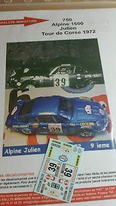 【送料無料】模型車 モデルカー スポーツカーデカールアルパインルノージュリアンツールドコルスラリーラリーdecals 132 ref 750 alpine renault a110 julien tour de corse 1972 rally rally