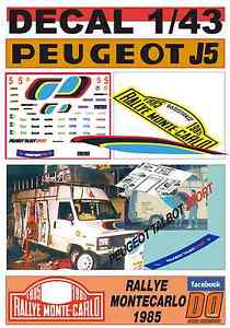 【送料無料】模型車 モデルカー スポーツカーデカールプジョープジョーアシスタンスラリーモンテカルロdecal 143 peugeot j5peugeot assistance rallye montecarlo 1985 05