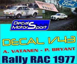 【送料無料】模型車 モデルカー スポーツカーフォードエスコートバタネンブライアントラリーdecalque 143 ford escort a vatanenp bryant rac rally 1977