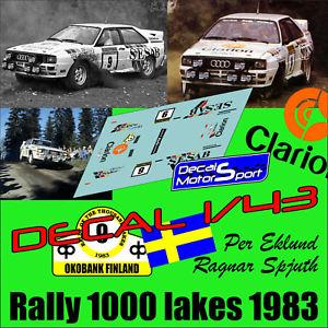 【送料無料】模型車 モデルカー スポーツカーデカールアウディクワトロラリーdecal 143 audi quattro p eklundr spjuth rally 1000 lakes 1983