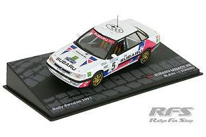 【送料無料】模型車 モデルカー スポーツカースバルレガシィマルックラリースウェーデン143 subaru legacy rsmarkku alenilkka kivimki rally sweden 1991