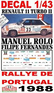 【送料無料】模型車 モデルカー スポーツカーデカールルノーターボマニュエルラリーポルトガルdecal 143 renault 11 turbo 2 manuel rolo rallye portugal 1988 05