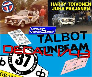 【送料無料】模型車 モデルカー スポーツカーデカールタルボットサンビームラリーラゴスdecal 143 talbot sunbeam harri toivonenj paajanen rally 1000 lagos 1981