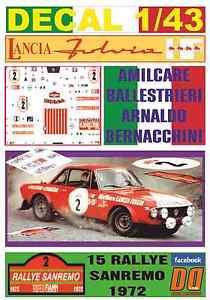 【送料無料】模型車 モデルカー スポーツカーデカールランチアサンレモdecal 143 lancia fulvia hf amilcare ballestrieri r sanremo 1972 winner 05