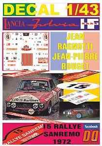 【送料無料】模型車 モデルカー スポーツカーデカールランチアジャンラリーサンレモリタイアdecal 143 lancia fulvia hf jean ragnotti rally sanremo 1972 dnf 05