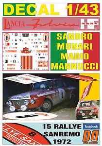 【送料無料】模型車 モデルカー スポーツカーデカールランチアムナーリラリーサンレモリタイアdecal 143 lancia fulvia hf sandro munari rallye sanremo 1972 dnf 05