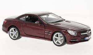 【送料無料】模型車 モデルカー スポーツカーメルセデスrメタリックダークレッドmercedes sl 500 r231, metallic dark red, 124, bburago