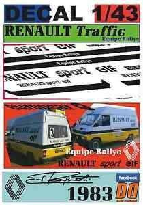 【送料無料】模型車 モデルカー スポーツカーデカールルノートラフィックスポーツチームラリージャンdecal 143 renault traffic equipe rally jean ragnotti 1983 06