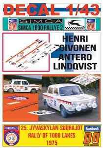 【送料無料】模型車 モデルカー スポーツカーデカールラリーラリーリタイアdecal 143 simca 1000 rally 2 henri toivonen rally 1000 lakes 1975 dnf 06