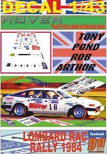 【送料無料】模型車 モデルカー スポーツカーデカールローバートニーラリーdecal 143 rover sd1 vitesse tony pond rac rally 1984 06