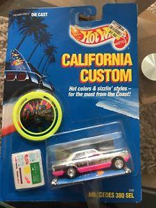 【送料無料】模型車 モデルカー スポーツカーマテルホットホイールカリフォルニアカスタムメルセデスmattel hot wheels california custom mercedes 380 sel moc, 1990