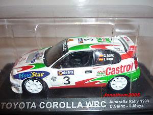 【送料無料】模型車 モデルカー スポーツカートヨタカローラ#オーストラリアラリーサインツモヤtoyota corolla wrc 3 australia rally 1999 sainz moya to the 143