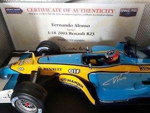 【送料無料】模型車 モデルカー スポーツカーリーズルマンフェルナンドアロンソルノー*signed* leeds mans winner 118 fernando alonso r23 f1 hotwheels renault 2003