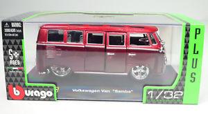 【送料無料】模型車 モデルカー スポーツカーフォルクスワーゲンフォルクスワーゲンバスサンバ#チューニングスケールvolkswagen vw bus t1 034; samba 034; tuned red scale 13 2 by bburago