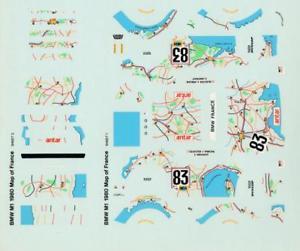 【送料無料】模型車 モデルカー スポーツカーフランスルマンデカールbmw m1 map of france le mans 1980 decal 143