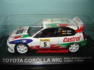 【送料無料】模型車 モデルカー スポーツカートヨタカローラモンテカルロラリーサインツモヤtoyota corolla wrc 5 rallye monte carlo 1998 c sainzl moya at 143