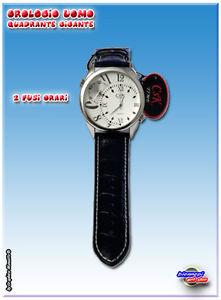 【送料無料】クロッククォーツレザーストラップタイムゾーンnuovo orologio csk time al quarzo cassa grande cinturino pelle nera 2 fusi orari