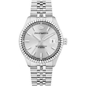クロックマンフィリップシルバーウォッチorologio uomo philip watch caribe tempo e data argento automatico r8223597012