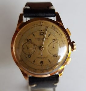 ビンテージピンクゴールドテレメータクロックrare vintage cronographe suisse oro rosa orologio telemetre anni 50 mm 38 crono