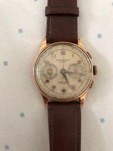 【送料無料】orologio chronographe suisse vintage in oro 18 kt