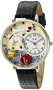 【送料無料】ブルドッグカラーブラックレザーwhimsical watches bulldog, colore nero, in pelle e goldtoneorologio d3w