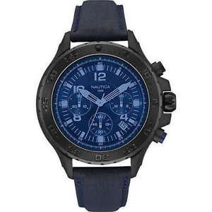 【送料無料】クロノグラフリストnautica cronografo uomo in pelle blu 46mm nai21008g , nuovo list 219