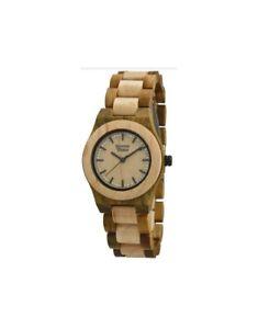 【送料無料】クロックorologio legno wood watch green time by zzero lady zw053c
