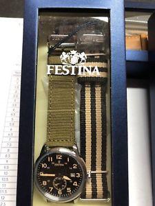 【送料無料】バッククロックマンダブルストラップfestina retro orologio uomo referenza  f203474 doppio cinturino