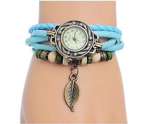 【送料無料】ターコイズブレスレットorologio al quarzo per donna con braccialetto in cuoio turchese or12