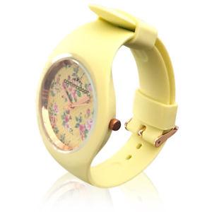【送料無料】ファンタジーed409 orologio da polso commodoor giallo con fantasia floreale