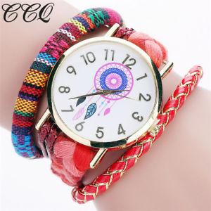 【送料無料】ブランドハンドメイドファッションロープウォッチレディースccq brand handmade braided women dreamcatcher wrist watch fashion rope ladies