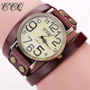 【送料無料】ブランドビンテージカウレザーブレスレットファッションウォッチccq luxury brand vintage cow leather bracelet watch fashion women wristwatch