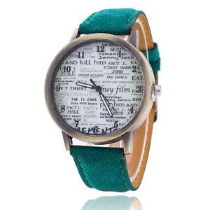 【送料無料】ビンテージアンティークレザーウォッチファッションジーンズストラップvintage jeans strap watch for women antique leather paper watch fashion ca