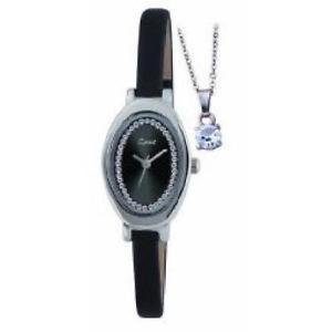 【送料無料】ストラップクロックペンダントセットspirit donna nero cinturino orologio e ciondolo set regalo aspl41