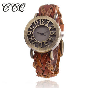 【送料無料】ビンテージクォーツカウレザーブレスレットccq women vintage quartz watches cow leather bracelet watches braided women d