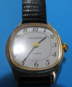 【送料無料】ヴィンテージクオーツレザーストラップvintage orologio ando watch quartz, anni 70, da donna, con cinturino in pelle